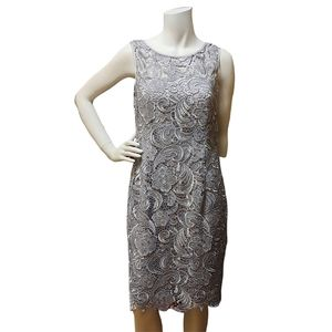 Adrianna Papell Gray Lace Dress Size 10